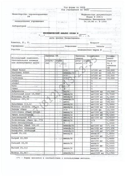 Биохимический анализ крови по форме 228 у - купить в Спб недорого и с доставкой
